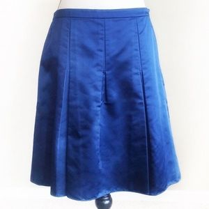 Ann Taylor Womens Blue Silk Pleated Skirt NEW 8